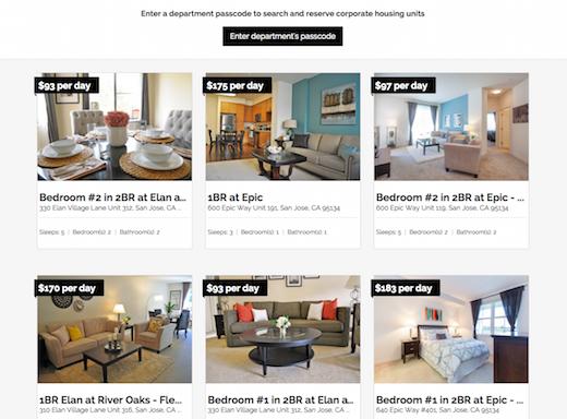 california corporate housing app screenshot